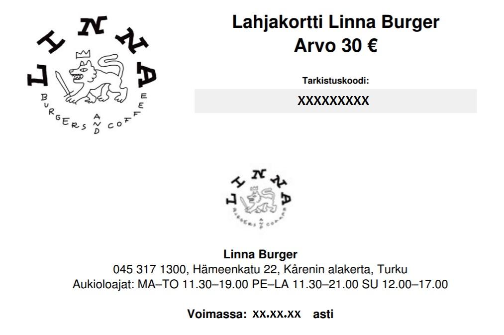 Linna burger  lahjakortti